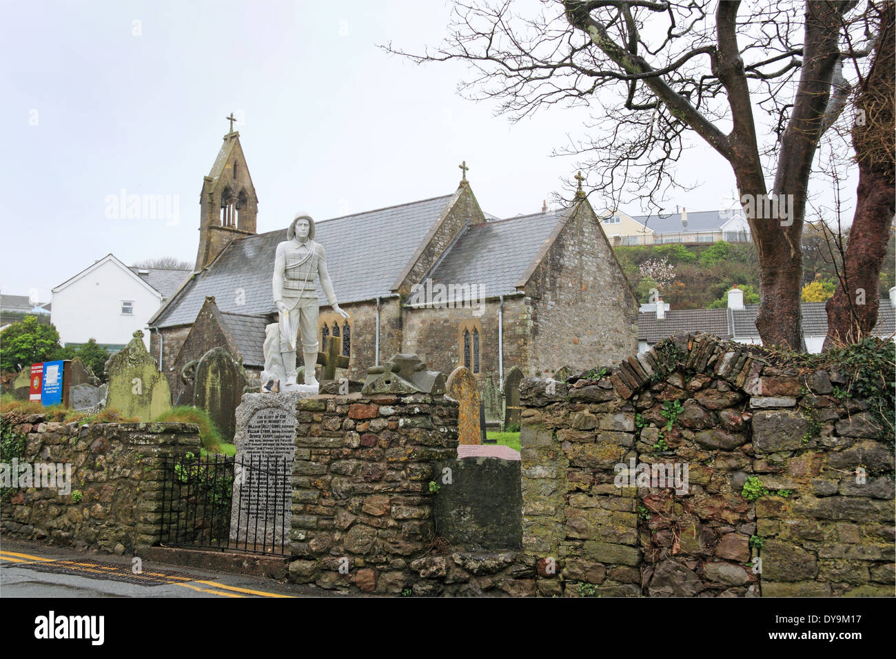 Lifeboat Crew Memorial, St Cattwg's church, Port Eynon, Gower Peninsula, Wales, Great Britain, United Kingdom, UK, Europe - Stock Image