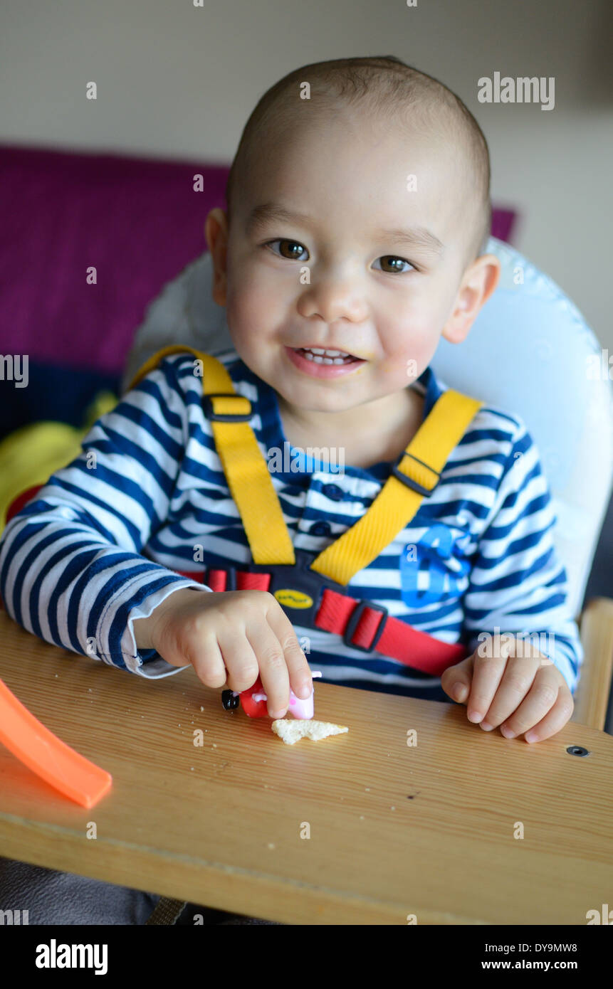 two years old boy baby sitting in feeding chair with his belts on