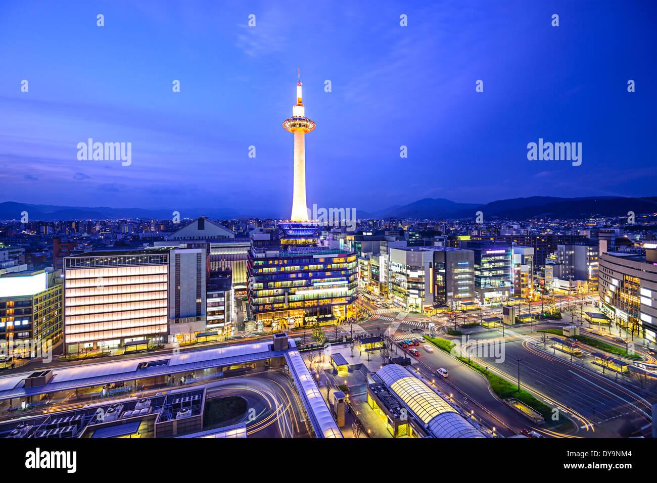 Kyoto, Japan modern skyline. Stock Photo