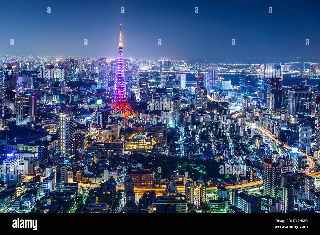 Tokyo, Japan city skyline with Tokyo Tower 'Diamond Veil' lighting. - Stock Image