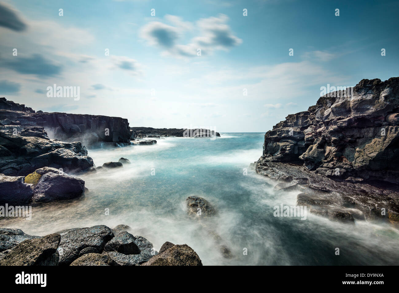 Volcanic rock on the Coastline of Hachijojima, Japan. - Stock Image