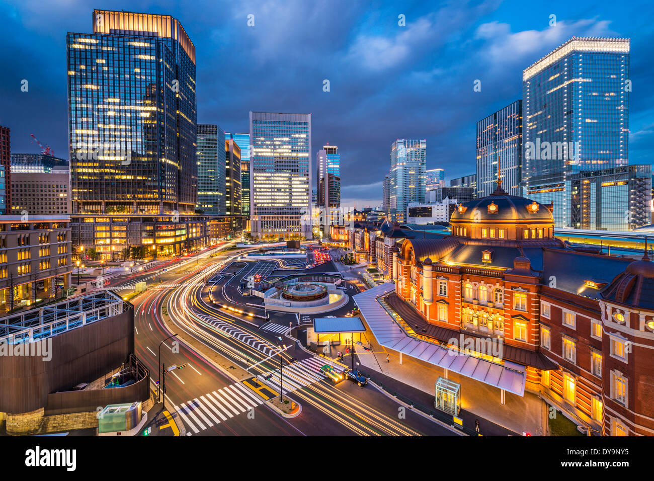 Tokyo, Japan at the Marunouchi business district and Tokyo Station. - Stock Image