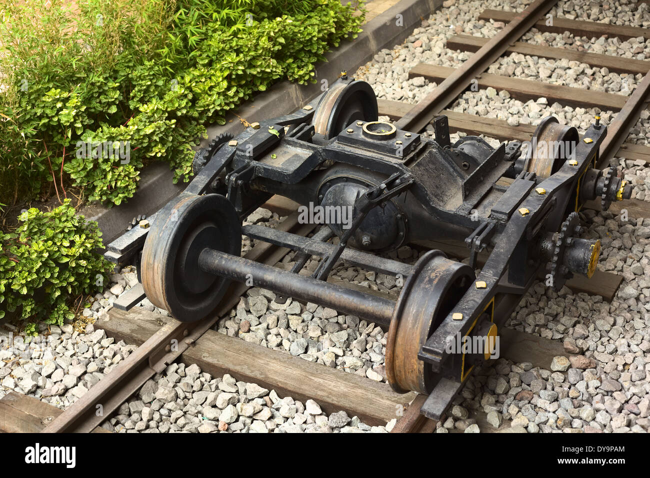 Mechanic trailer used to pull waggons at the train station in Riobamba, Ecuador - Stock Image