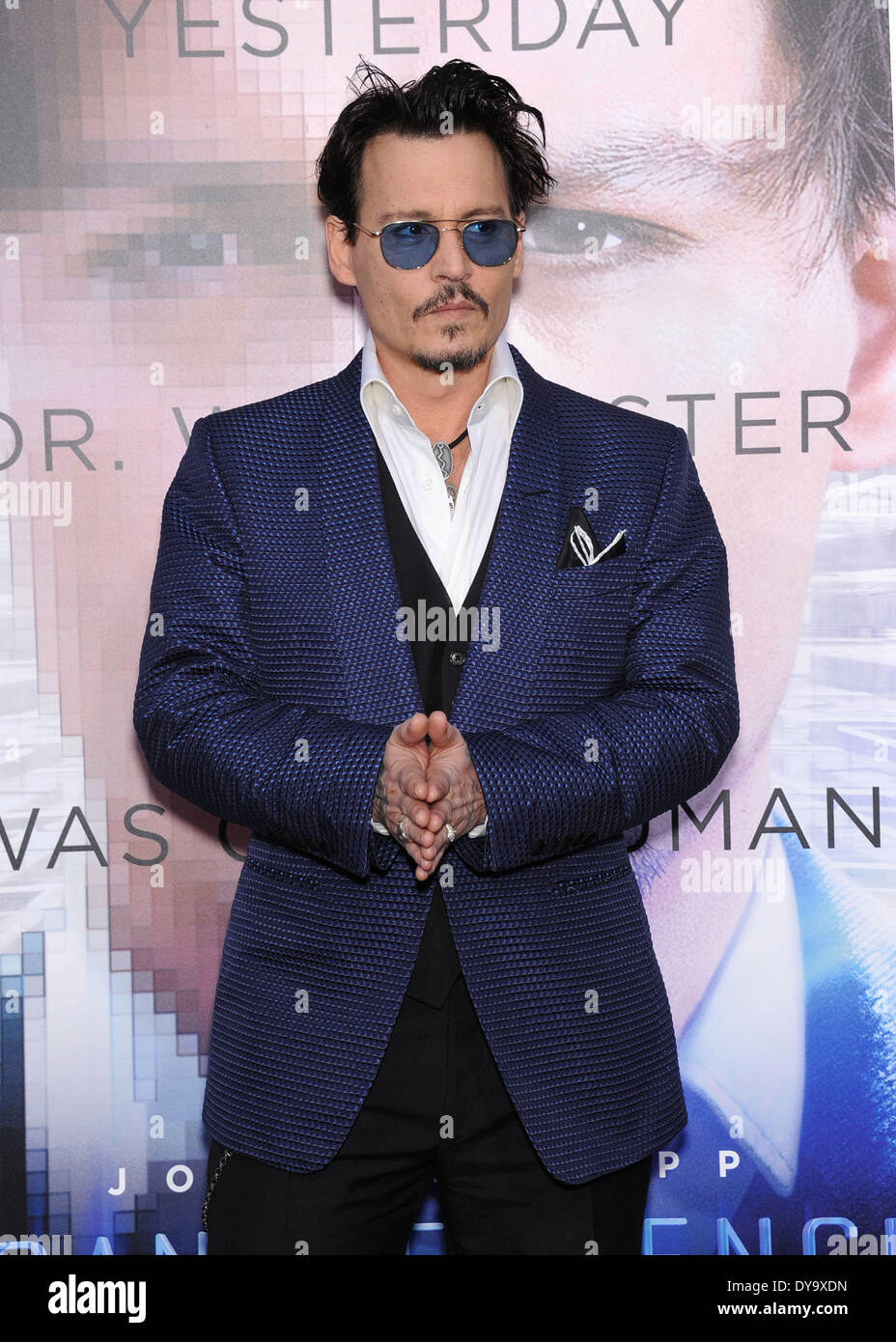 Westwood, California, USA. 10th Apr, 2014. Johnny Depp arrives for the premiere of the film 'Transcendence' at the Village theater. Credit:  Lisa O'Connor/ZUMAPRESS.com/Alamy Live News - Stock Image