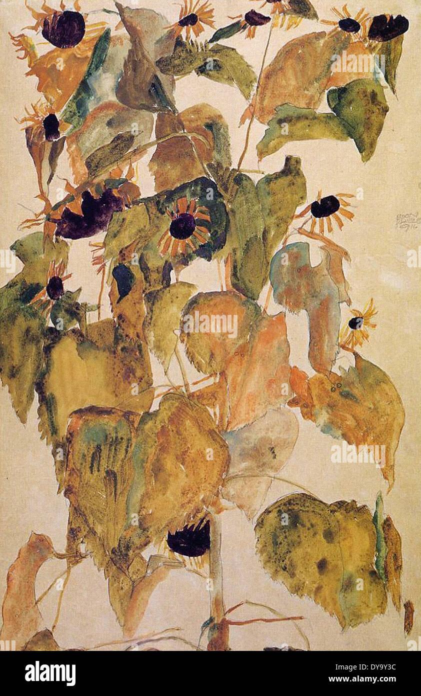 Egon Schiele Sunflowers Stock Photo