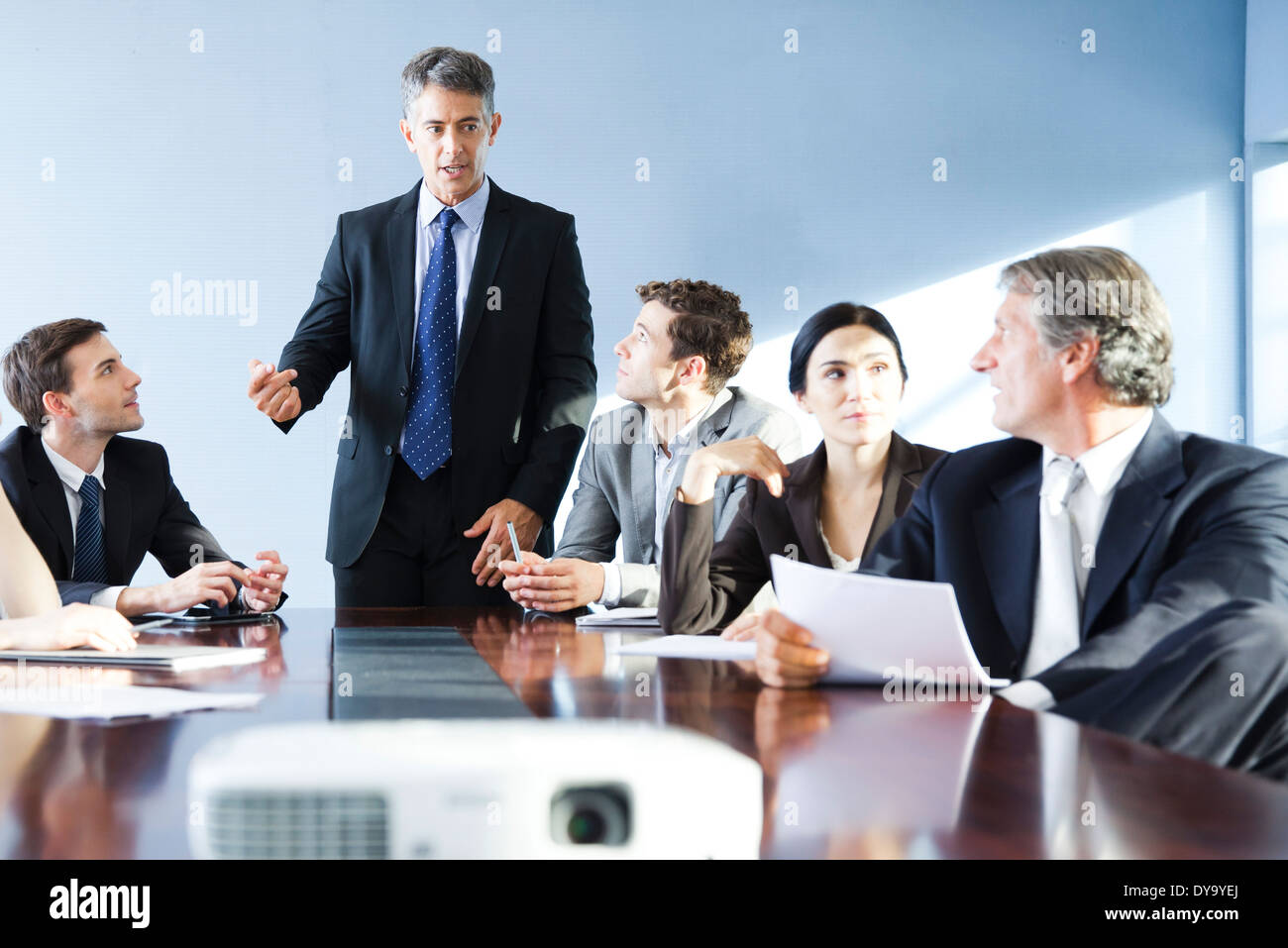 Corporate trainer leading training session - Stock Image