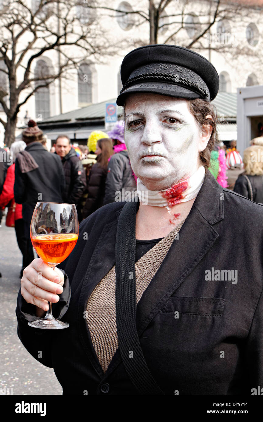 Vampire Victim Holding A Colorful Drink Fasching Street Party Stock
