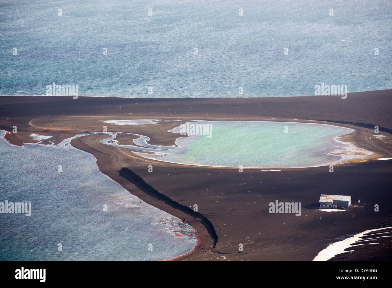 The sheltered harbour in the middle of Deception Island in the South Shetland Islands off the Antarctic Peninsular - Stock Image