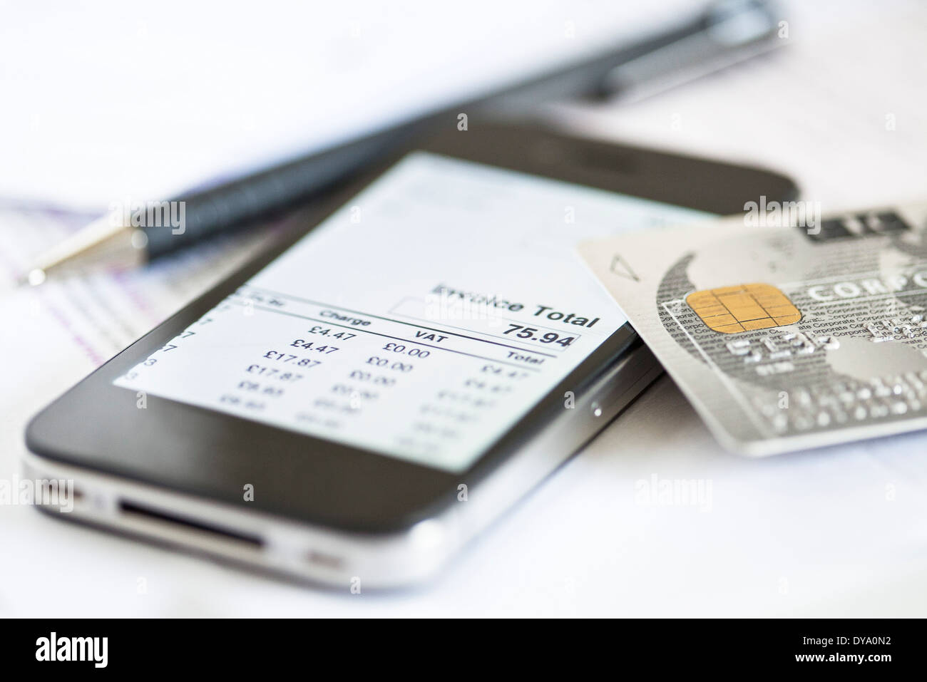Smartphone being used for online banking - Stock Image