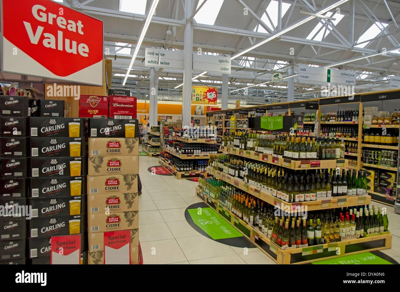 cheap offers of beer, wine and spirits at Morrisons Supermarket Hadleigh Suffolk - Stock Image