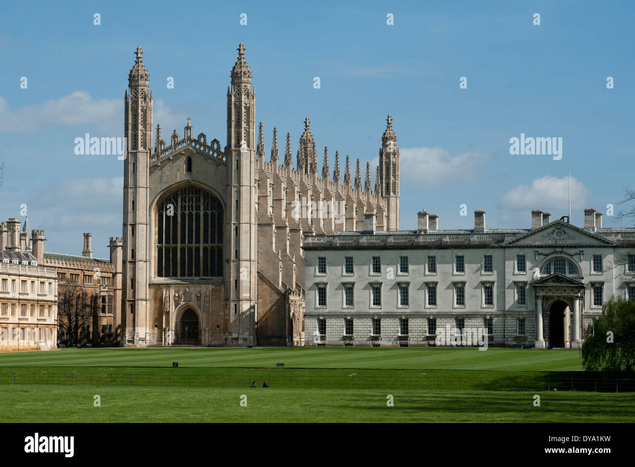 Cambridge, King's College Chapel, King's College, Cambridge University, England. 9 April 2014. Photograph - Stock Image