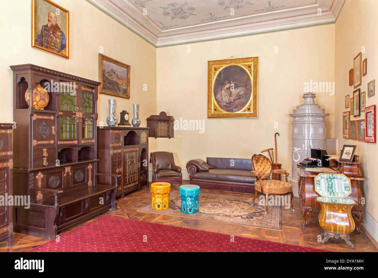 SAINT ANTON, SLOVAKIA - FEBRUARY 27, 2014: Bulgarian saloon in palace Saint Anton with the furniture form 19. cent. - Stock Image