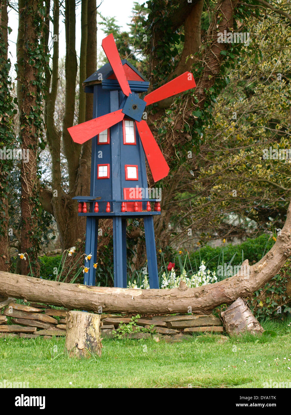 Ornamental Windmill In A Garden, Bude, Cornwall, UK   Stock Image