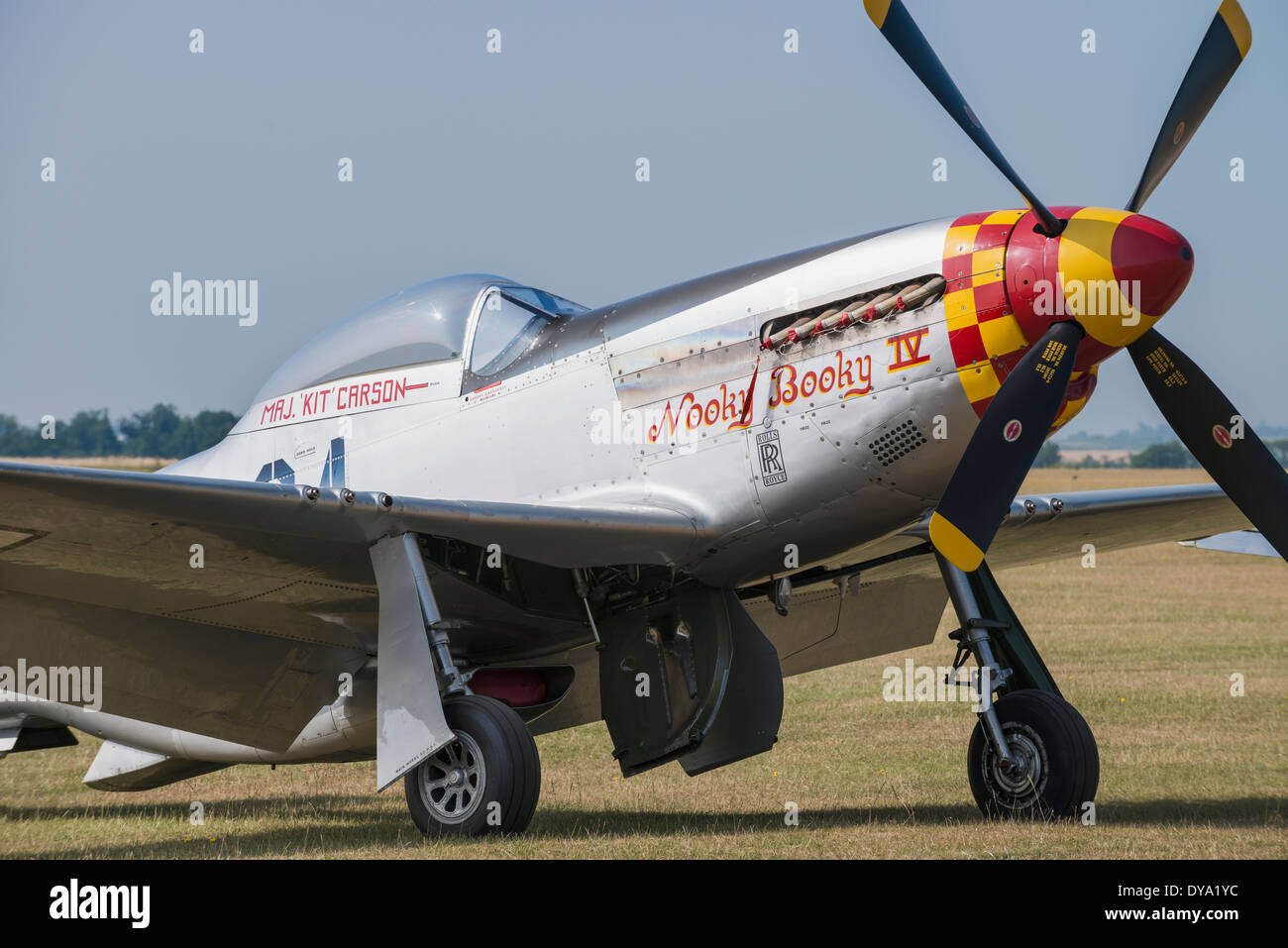 P51-D Mustang 'Nooky Booky IV' at the Flying Legends Airshow, Imperial War Museum Duxford - Stock Image