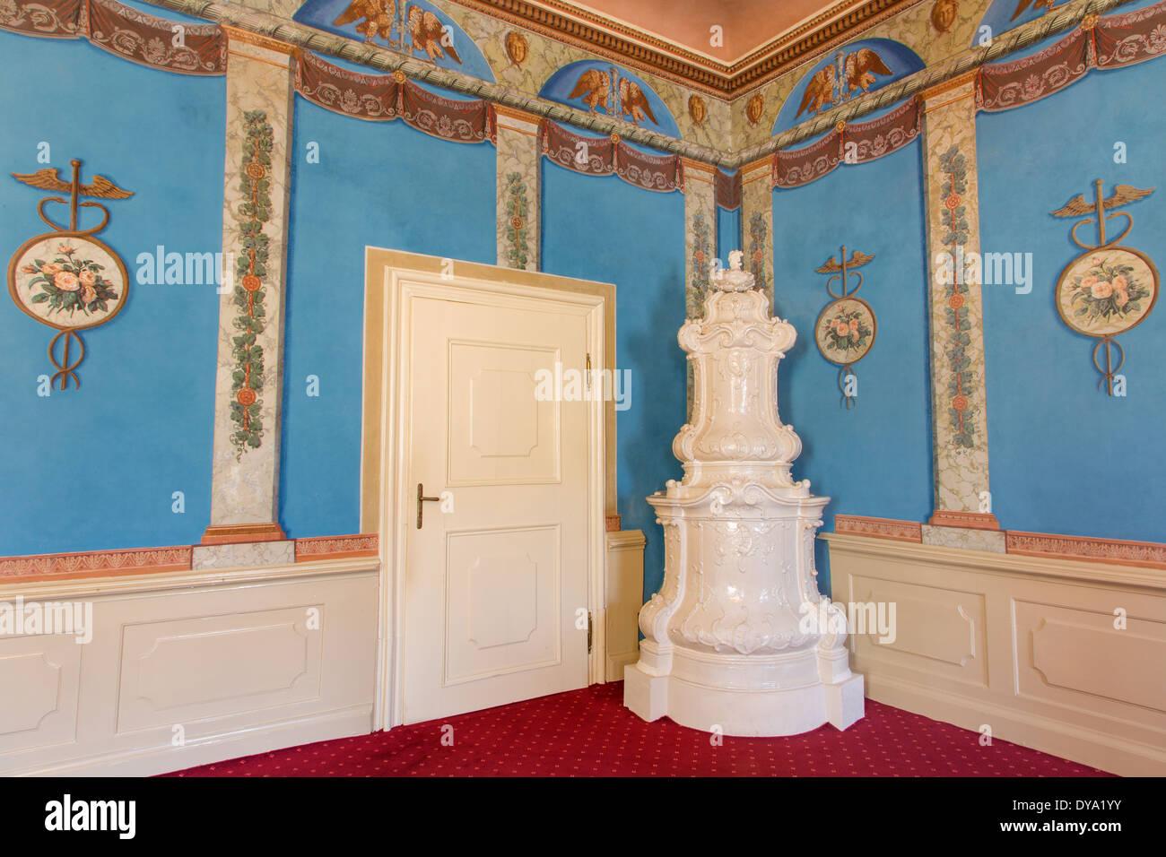 SAINT ANTON, SLOVAKIA - FEBRUARY 26, 2014: Music saloon in palace Saint Anton - stove - Stock Image