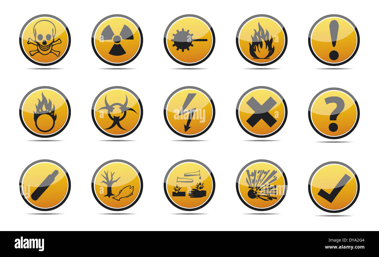 Isolated orange Circle Danger sign collection with black border, reflection and shadow on white background Stock Photo
