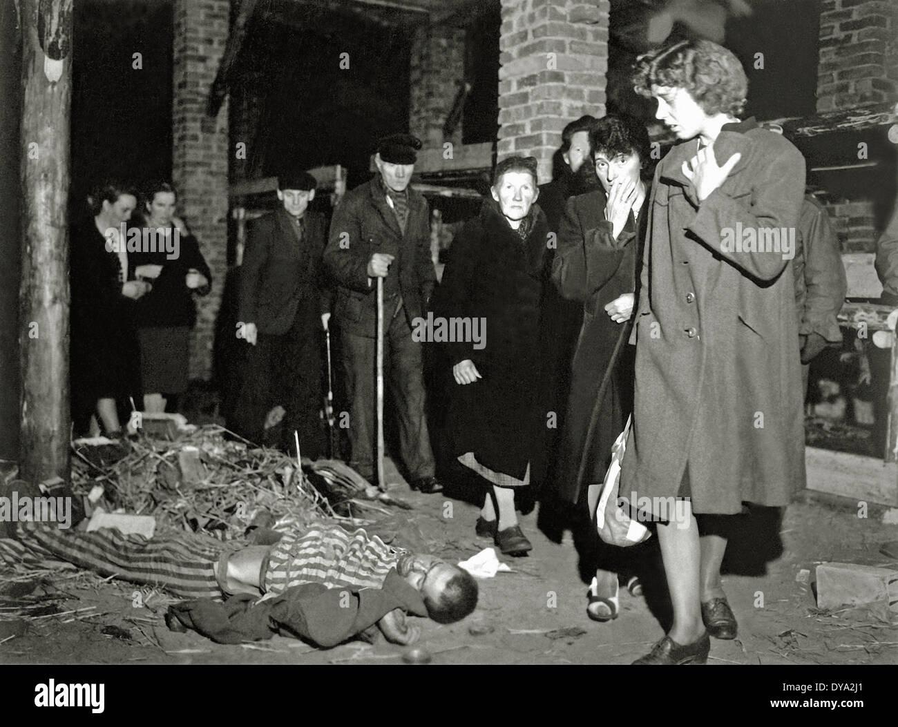 WW II historical war world war second world war Germany inhabitant resident visit Ludwigslust concentration camp KZ 1945 corp - Stock Image
