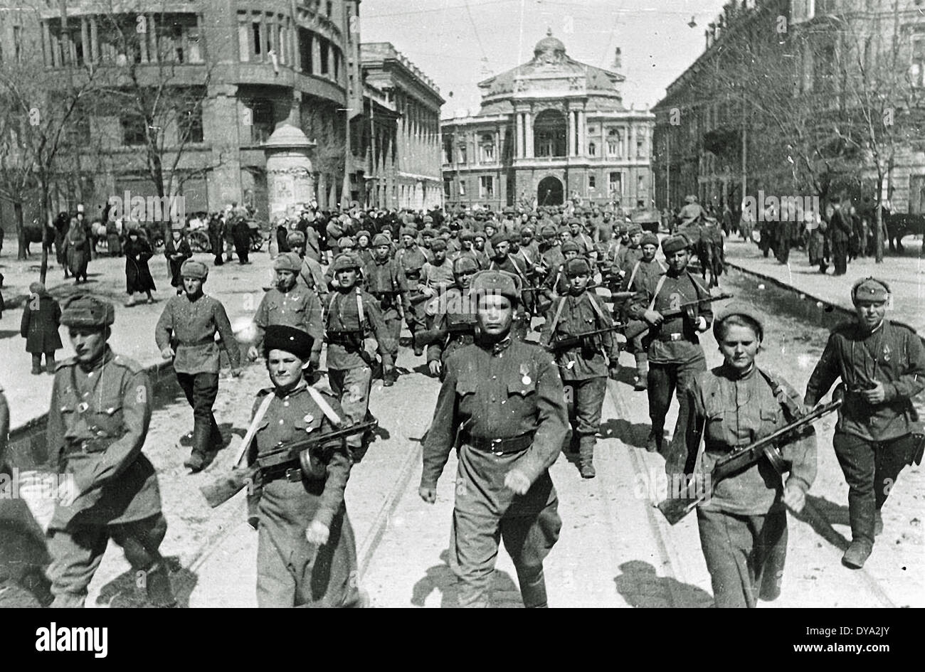 WW II historical war world war second world war USSR guard army street Odessa lieutenant general Tschuikow April 1944 army s - Stock Image