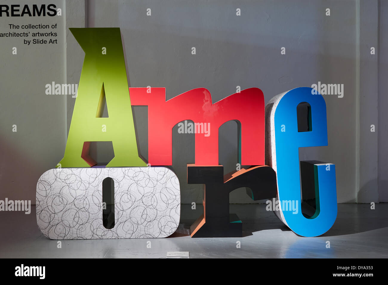 MILAN, ITALY, 10th Apr, 2014. Amore sculpture by Javier Mariscal during Salone Internazionale del Mobile, Furniture fair in Milan. Credit:  A. Astes/Alamy Live News - Stock Image
