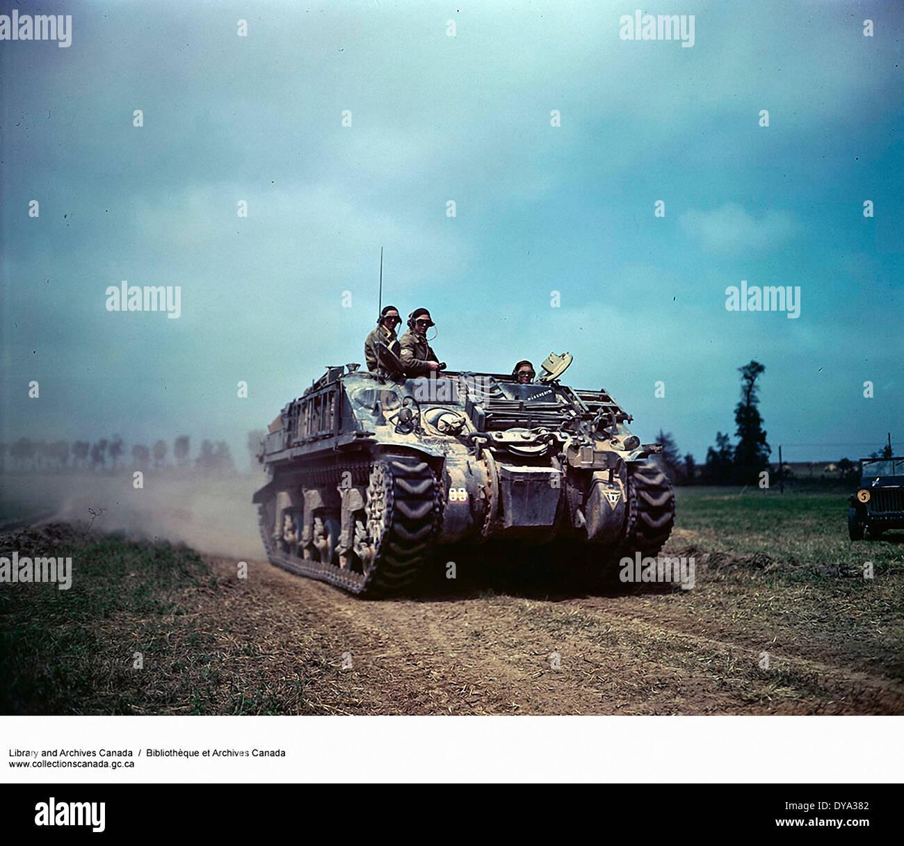 WW II, historical, war, world war, second world war, tank, Sherman, field, invasion, 1944, France, Europe, - Stock Image