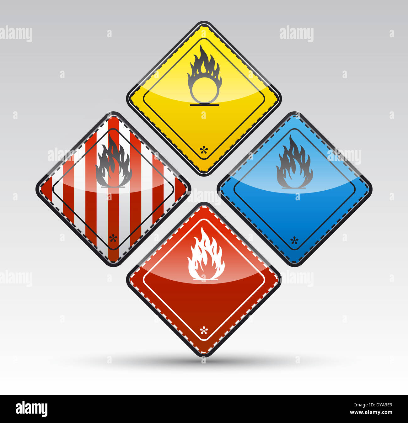 Isolated Danger flammable sign collection with black border, reflection and shadow on light background - Stock Image