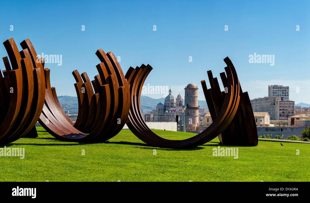 Tour du Roi Rene Cathedrale de la Major town village field meadow summer art sculpture Marseilles Bouches du Rhone France Euro Stock Photo