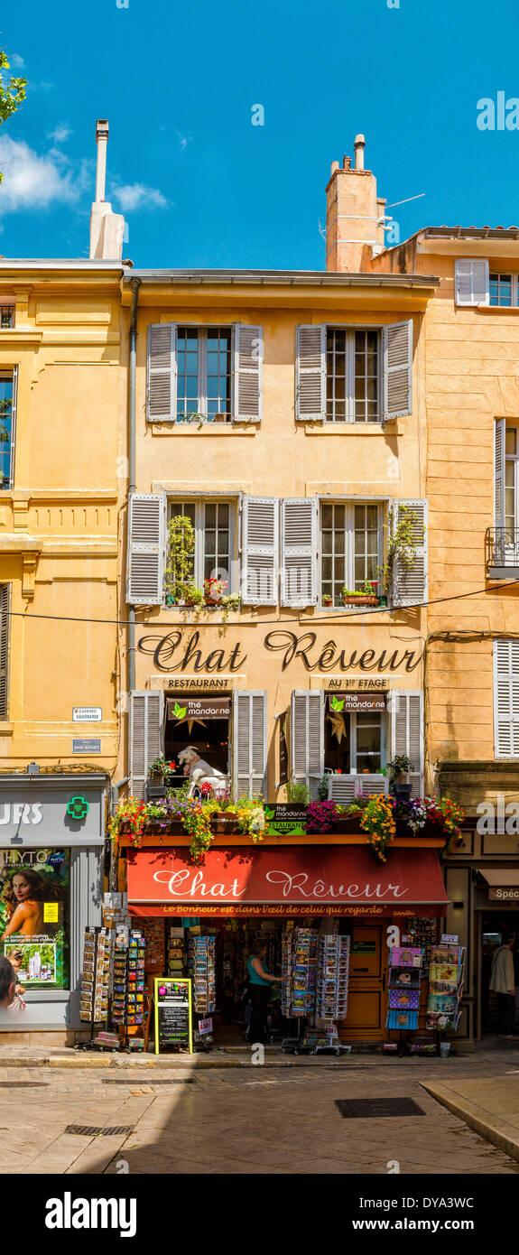 Shop, Place de l'Hotel de ville, town, village, Aix en Provence, Bouches du Rhone, France, Europe, - Stock Image