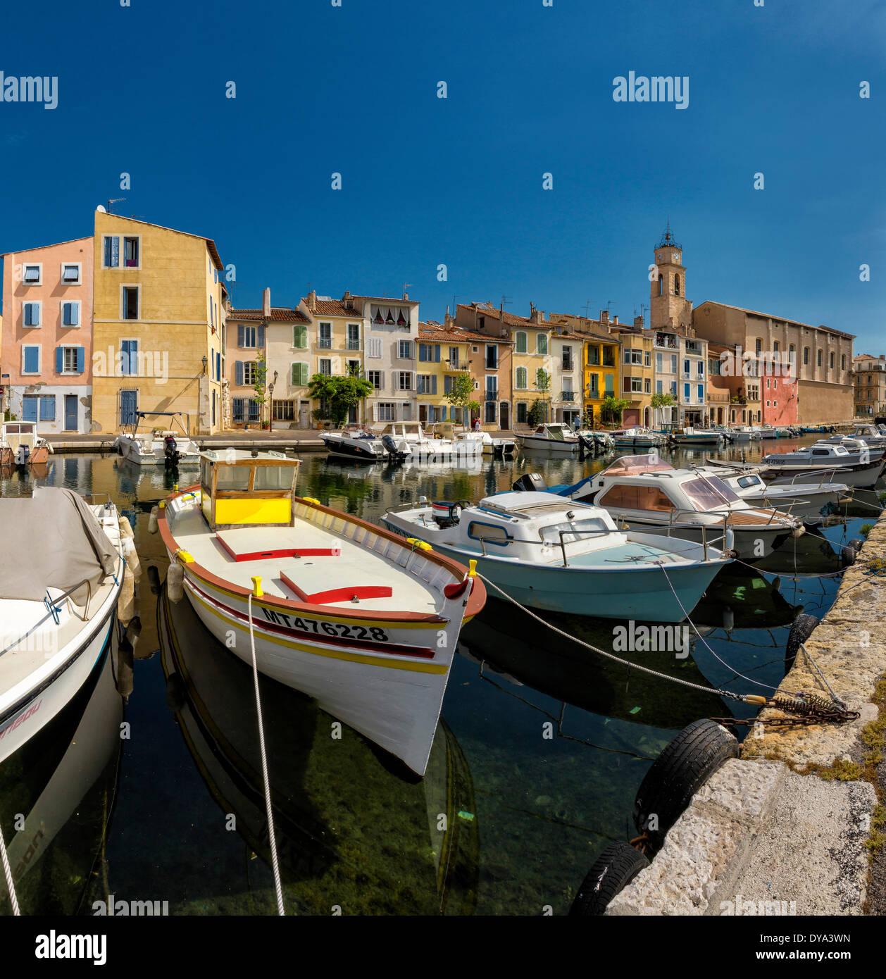 Quai Marceau, town, village, water, summer, ships, boat, Martique, Bouches du Rhone, France, Europe, - Stock Image