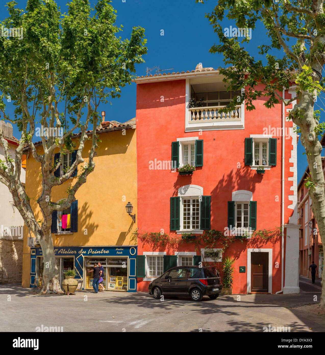 Rue Jeannin, town, village, forest, wood, trees, summer, people, Martique, Bouches du Rhone, France, Europe, - Stock Image