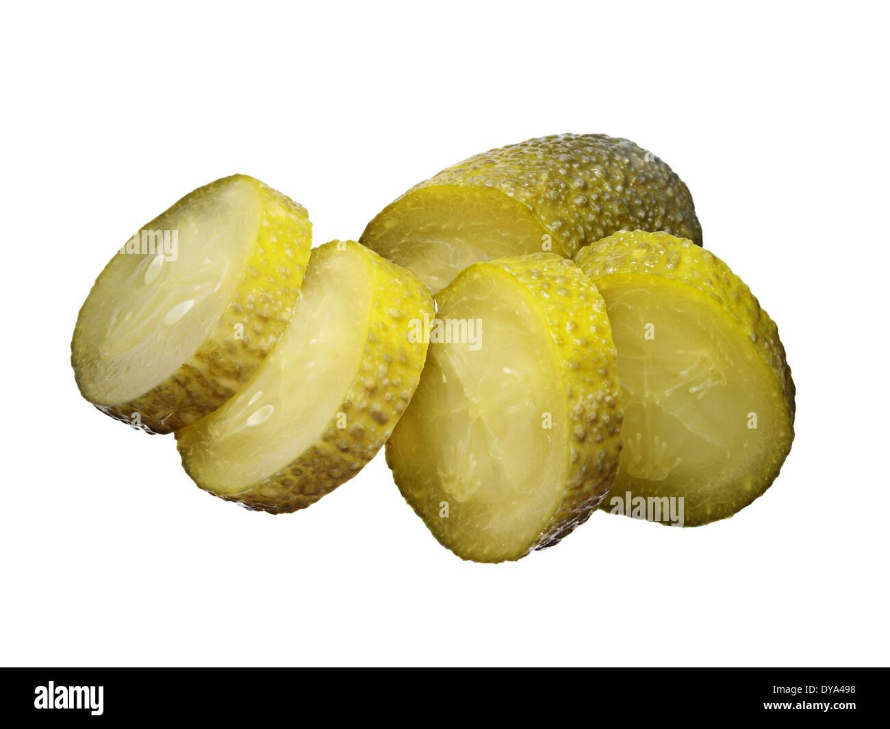 Marinated cucumber slices isolated on white - Stock Image