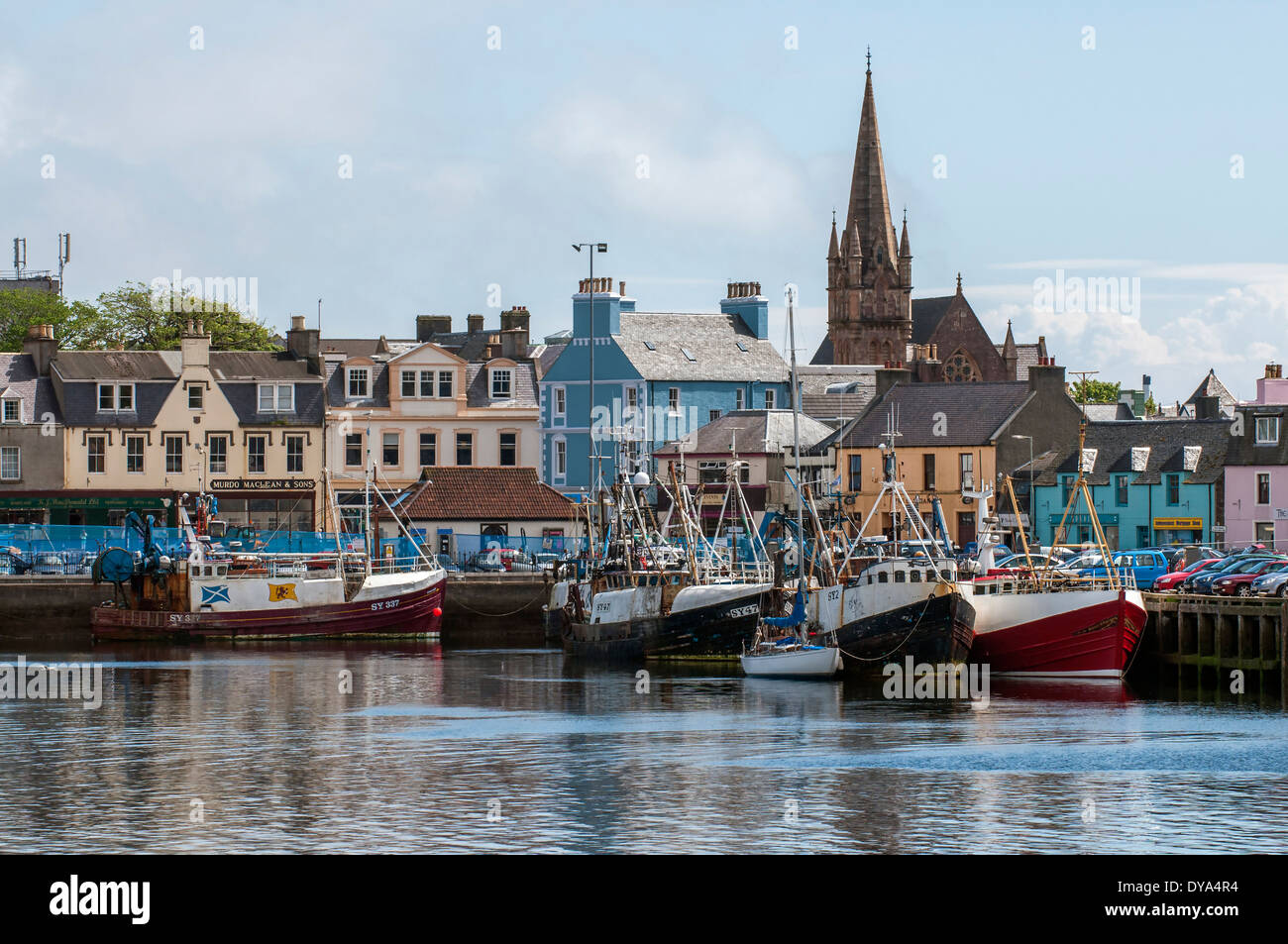 Stornoway Harbour and town center - Stock Image