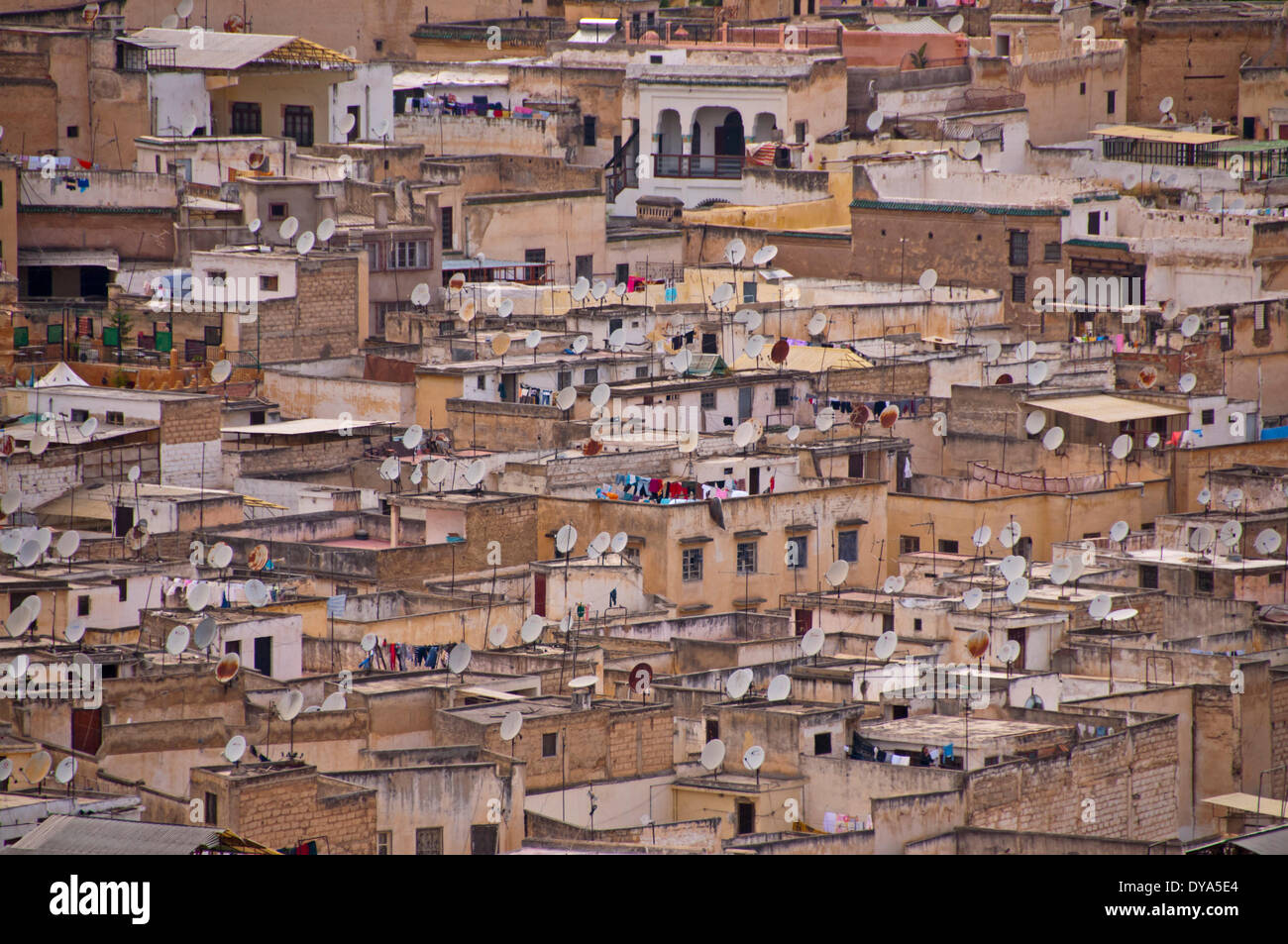 Africa, North Africa, Old Town, fez, houses, homes, Morocco, Medina, satellite dishes, dish aerial, roofs, Stock Photo