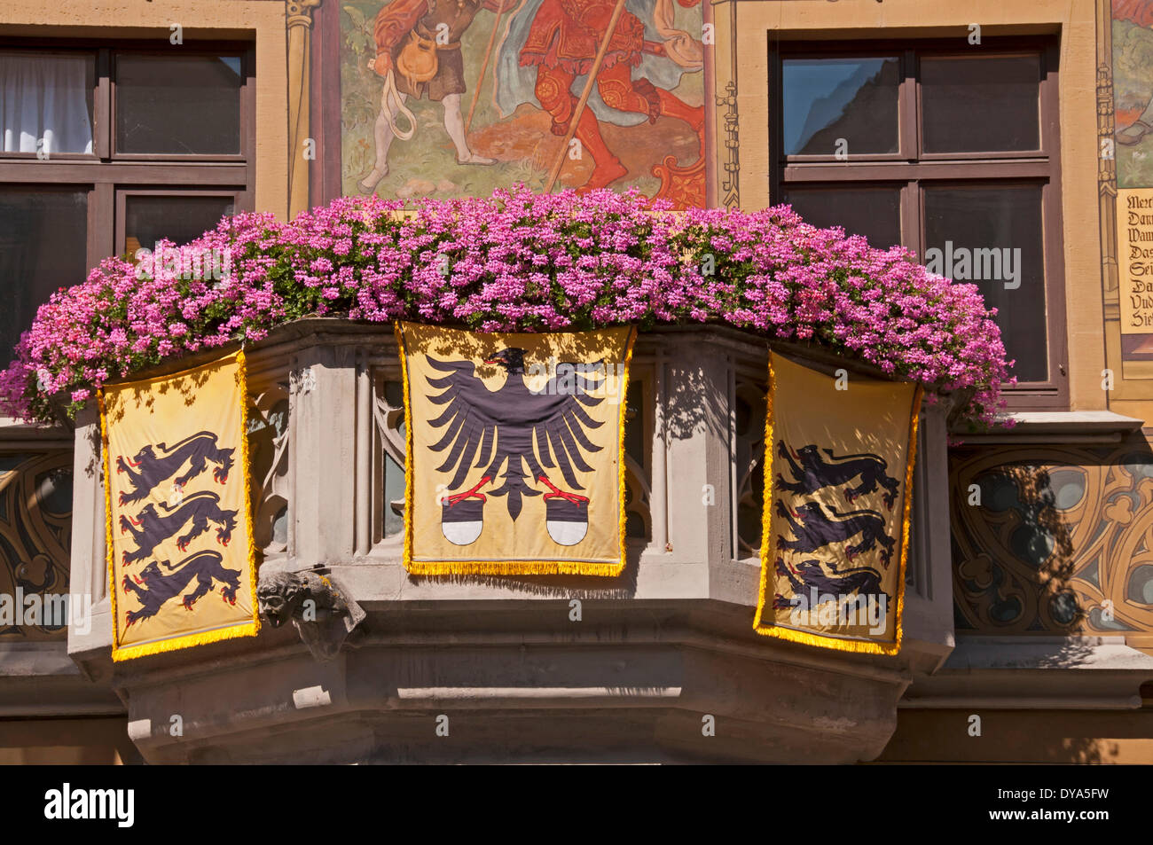 Balcony, Germany, Europe, more decorated, marketplace, city hall, Schwörmontag, Ulm, Baden Wurttemberg, - Stock Image