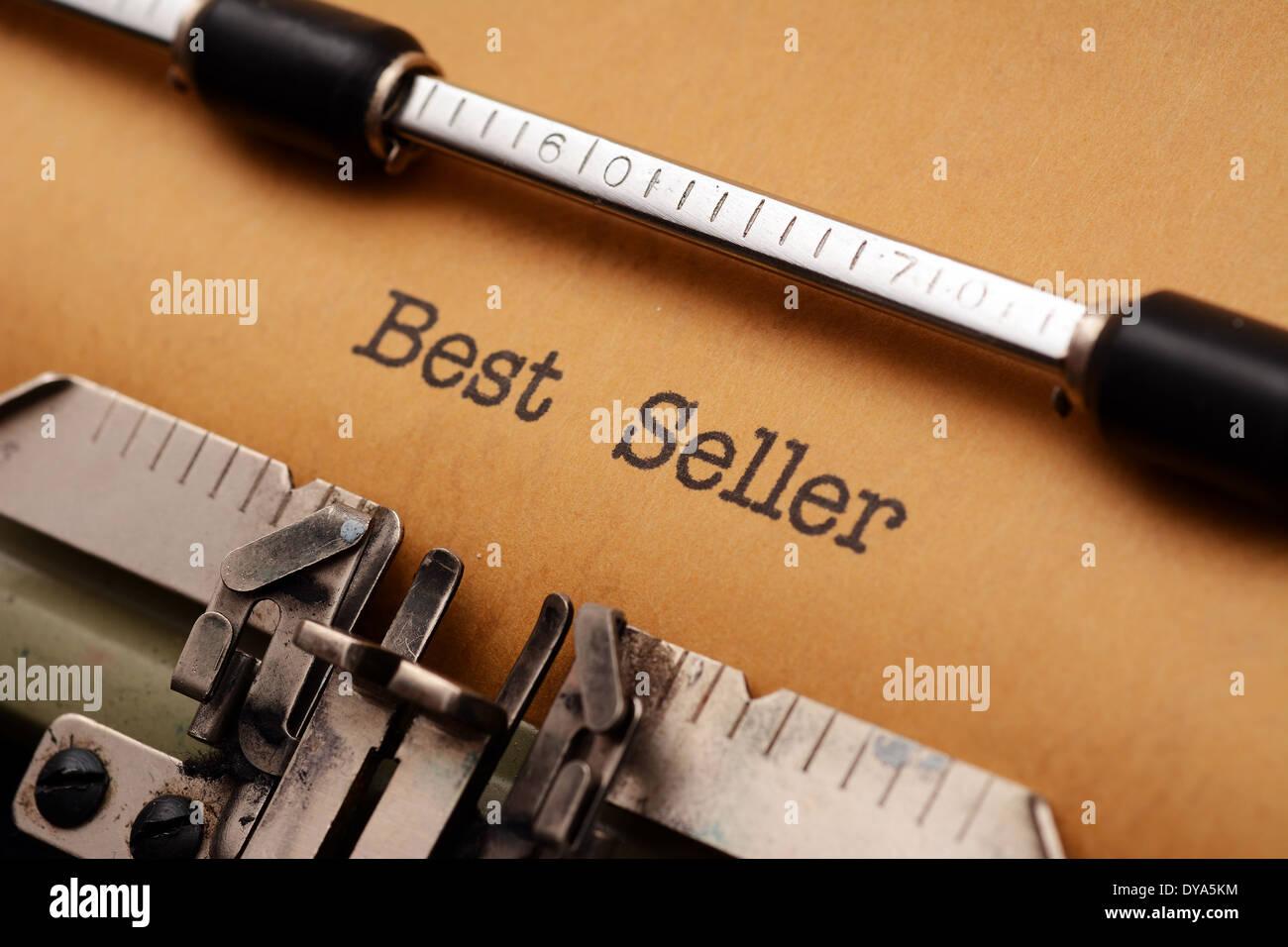Best seller text on typewriter Stock Photo