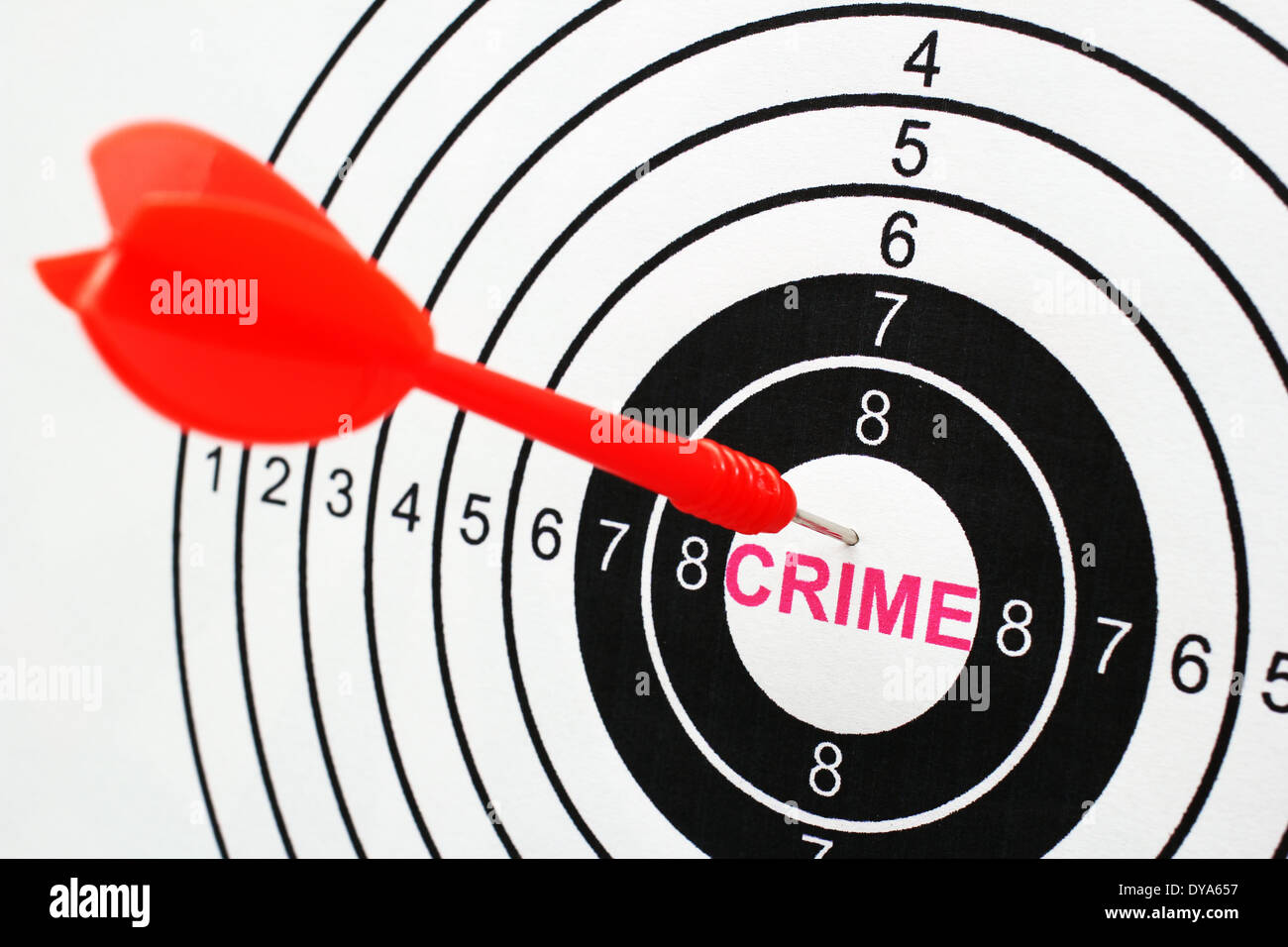 Crime text in target Stock Photo