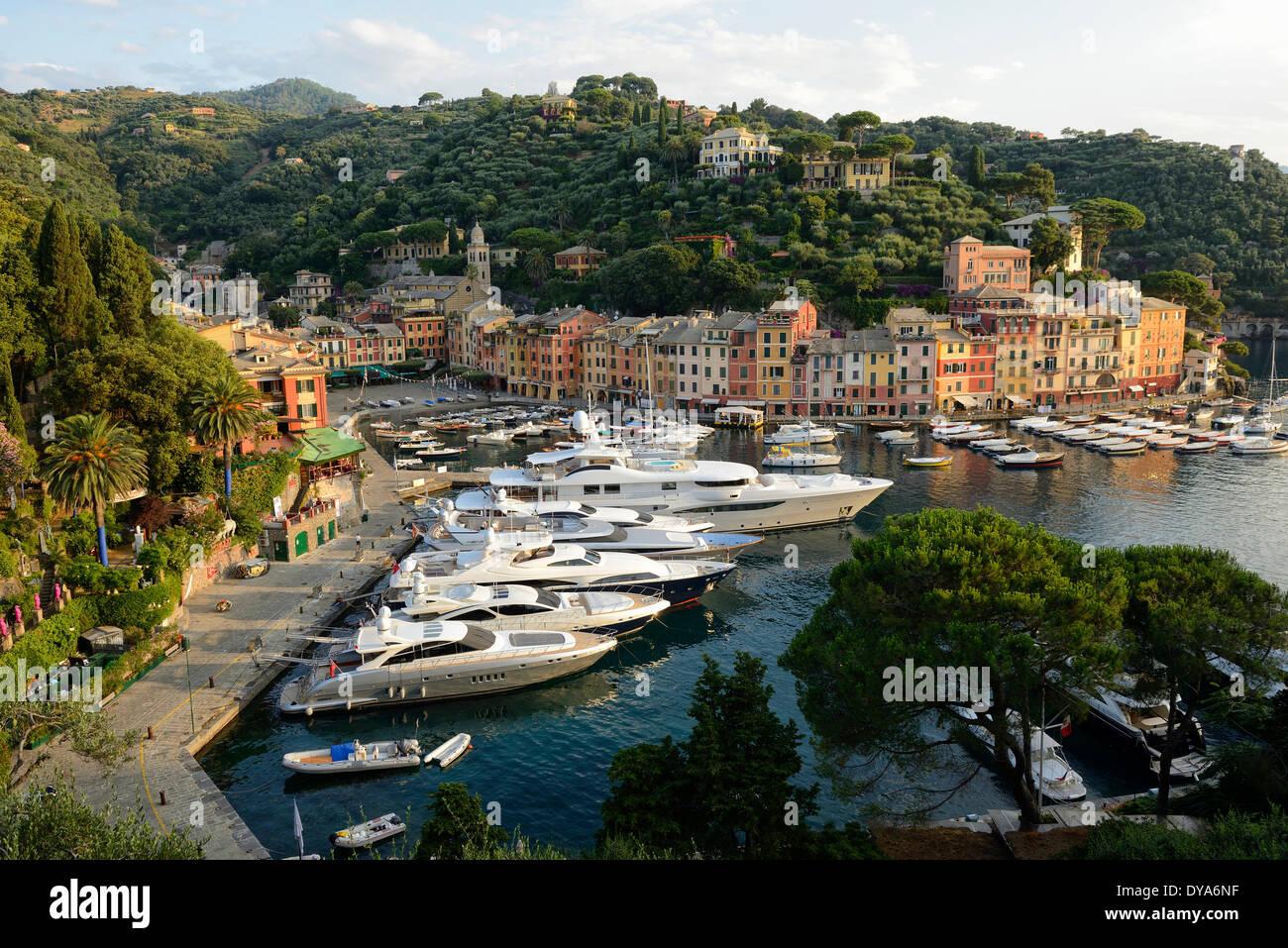 Italy, Riviera, Genoa province, Portofino, Mediterranean, marina, port, cove, town, landscape, coastal, italian - Stock Image
