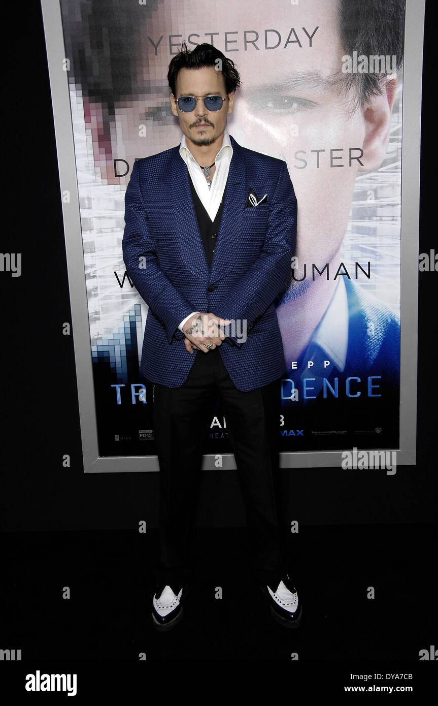Los Angeles, CA, USA. 10th Apr, 2014. Johnny Depp at arrivals for TRANSCENDENCE Premiere, The Regency Village Theatre, Los Angeles, CA April 10, 2014. Credit:  Michael Germana/Everett Collection/Alamy Live News - Stock Image