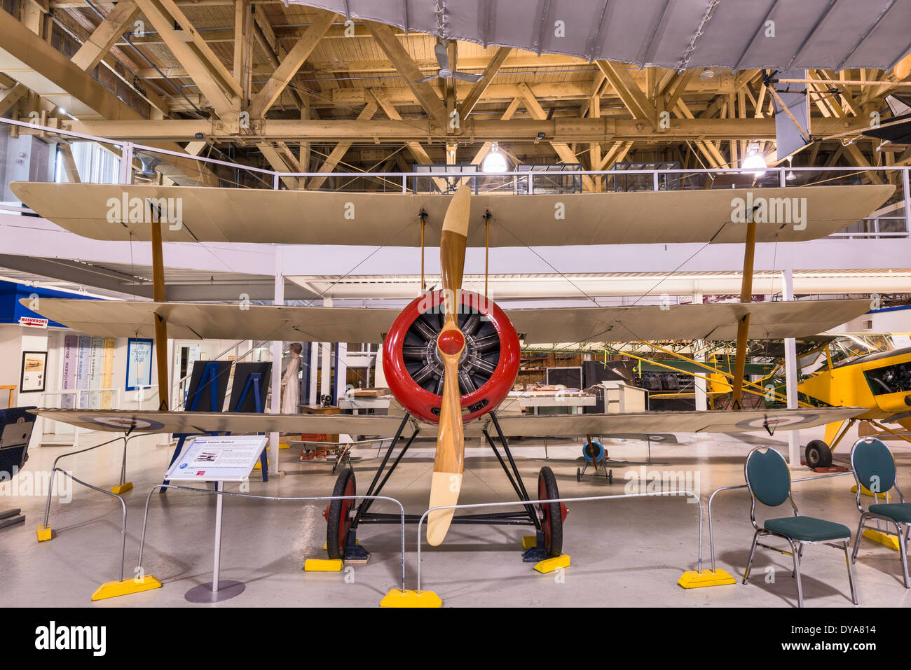 Sopwith Triplane, WW1 fighter replica at Main Hangar at Aero Space Museum of Calgary, Calgary, Alberta, Canada - Stock Image
