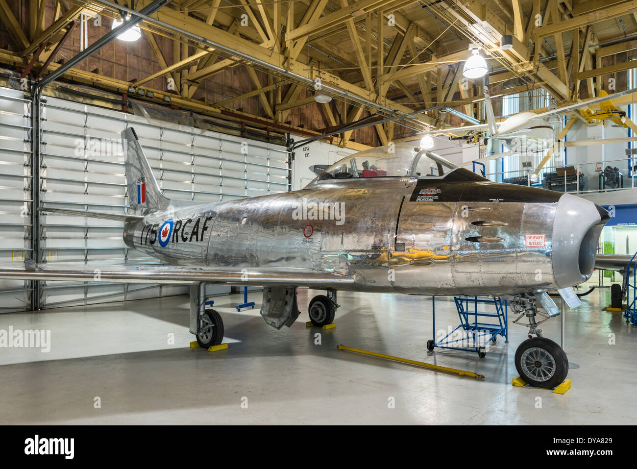 North American F-86 Sabre jet fighter, Main Hangar at Aero Space Museum of Calgary, Calgary, Alberta, Canada - Stock Image