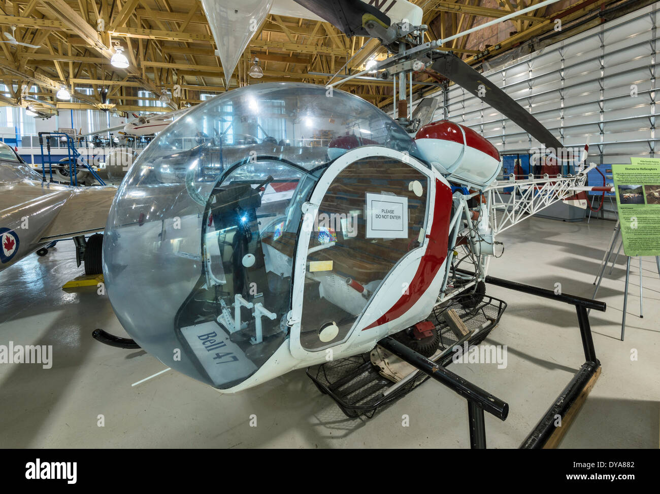 Bell 47 multipurpose helicopter at Main Hangar at Aero Space Museum of Calgary, Calgary, Alberta, Canada - Stock Image