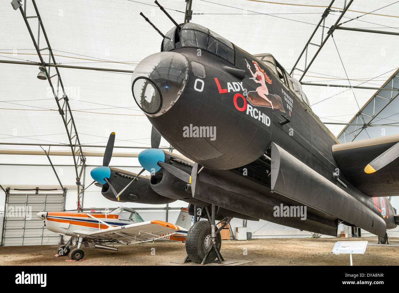 Avro Lancaster Mk X WWII bomber, Cessna 188 AGWagon light agricultural aircraft, Aero Space Museum of Calgary, Alberta, Canada - Stock Image