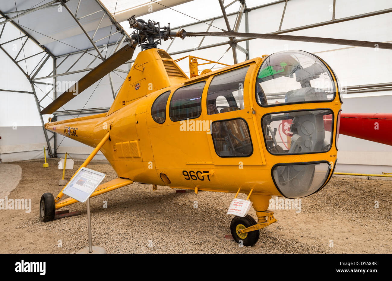 Sikorsky S-51 Dragonfly (H-5) helicopter, Tent Hangar at Aero Space Museum of Calgary, Calgary, Alberta, Canada - Stock Image