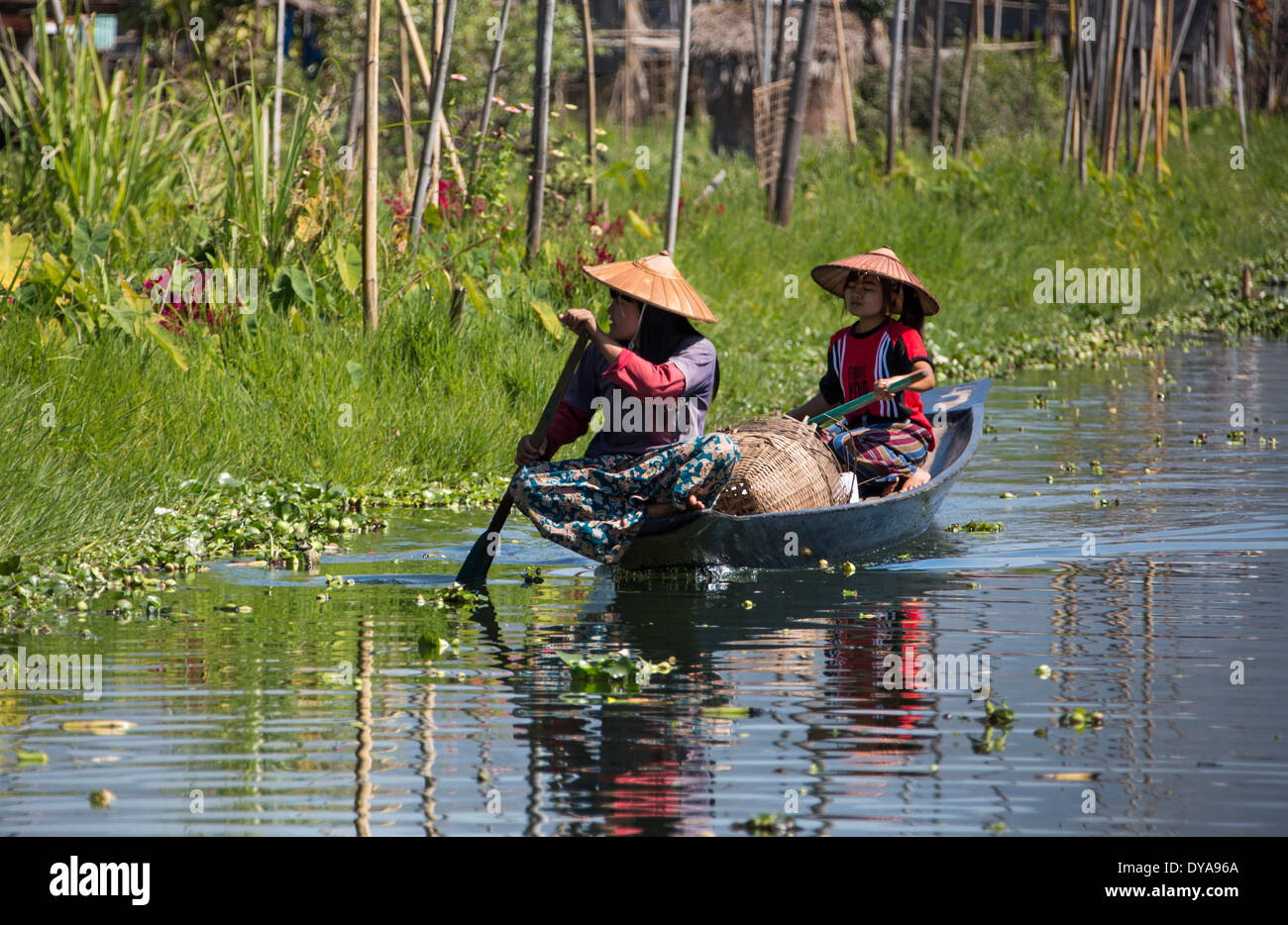 Inle, Myanmar, Burma, Asia, canal, colourful, lake, boat, local, tour, touristic, traditional, transport, travel - Stock Image