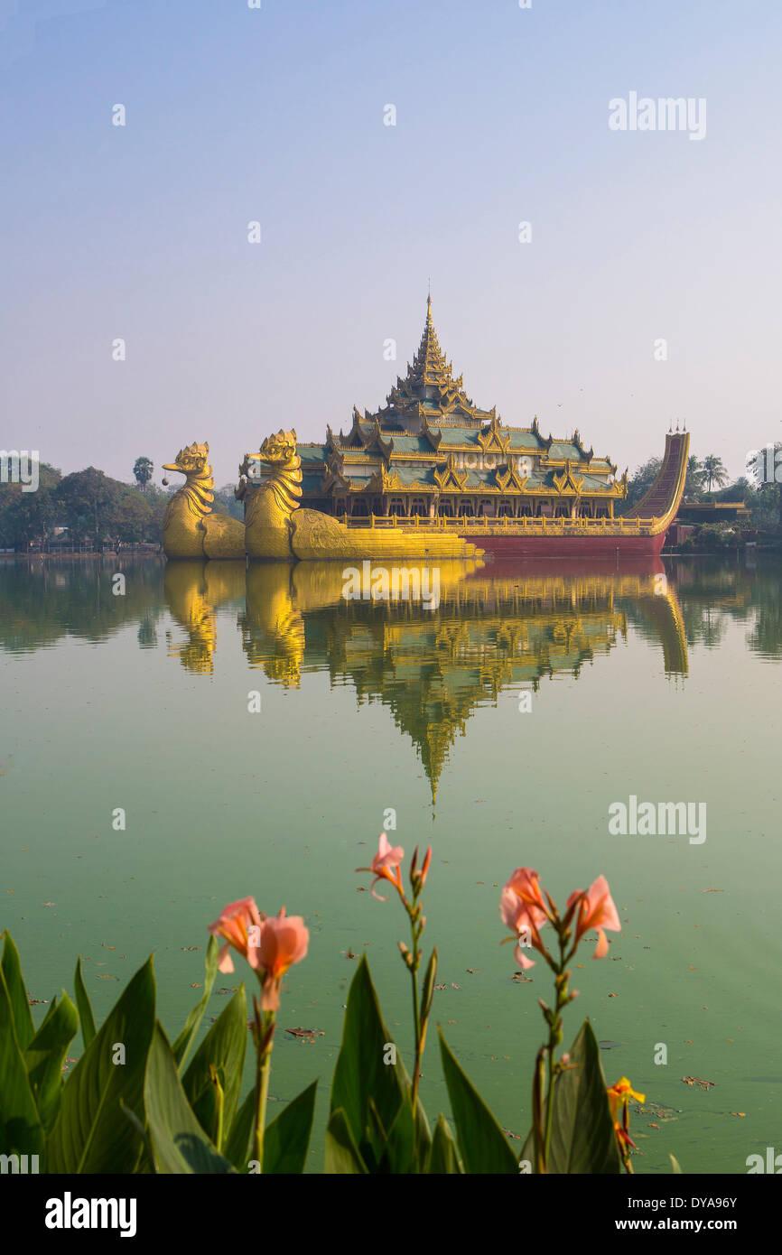 Myanmar Burma Asia Paya Yangon Rangoon Kandawgyi Floating architecture colourful famous flowers image lake reflection Stock Photo