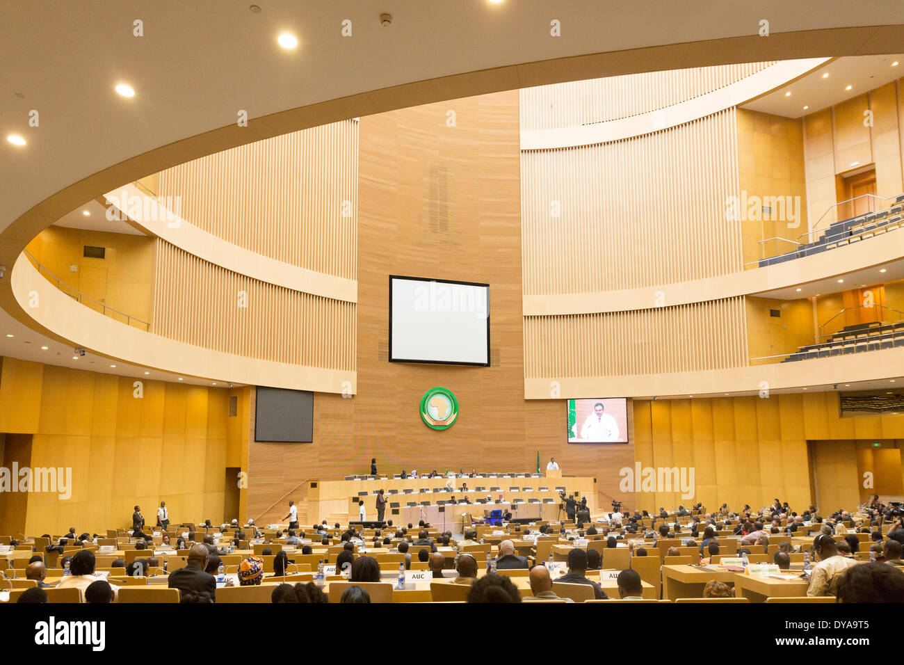 Addis Ababa, Ethiopia. 11th April 2014.  Participants of the of the 20th Anniversary Commemoration of the Rwanda Genocide gather at the AU Nelson Mandela Hall, on 11 April, 2014, in Addis Ababa, Ethiopia Credit:  Dereje Belachew/Alamy Live News - Stock Image
