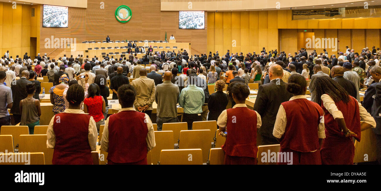 Addis Ababa, Ethiopia. 11th April 2014.  Participants of the of the 20th Anniversary Commemoration of the Rwanda Genocide stand to observe a minute of silence at the AU Nelson Mandela Hall, on 11 April, 2014, in Addis Ababa, Ethiopia Credit:  Dereje Belachew/Alamy Live News - Stock Image