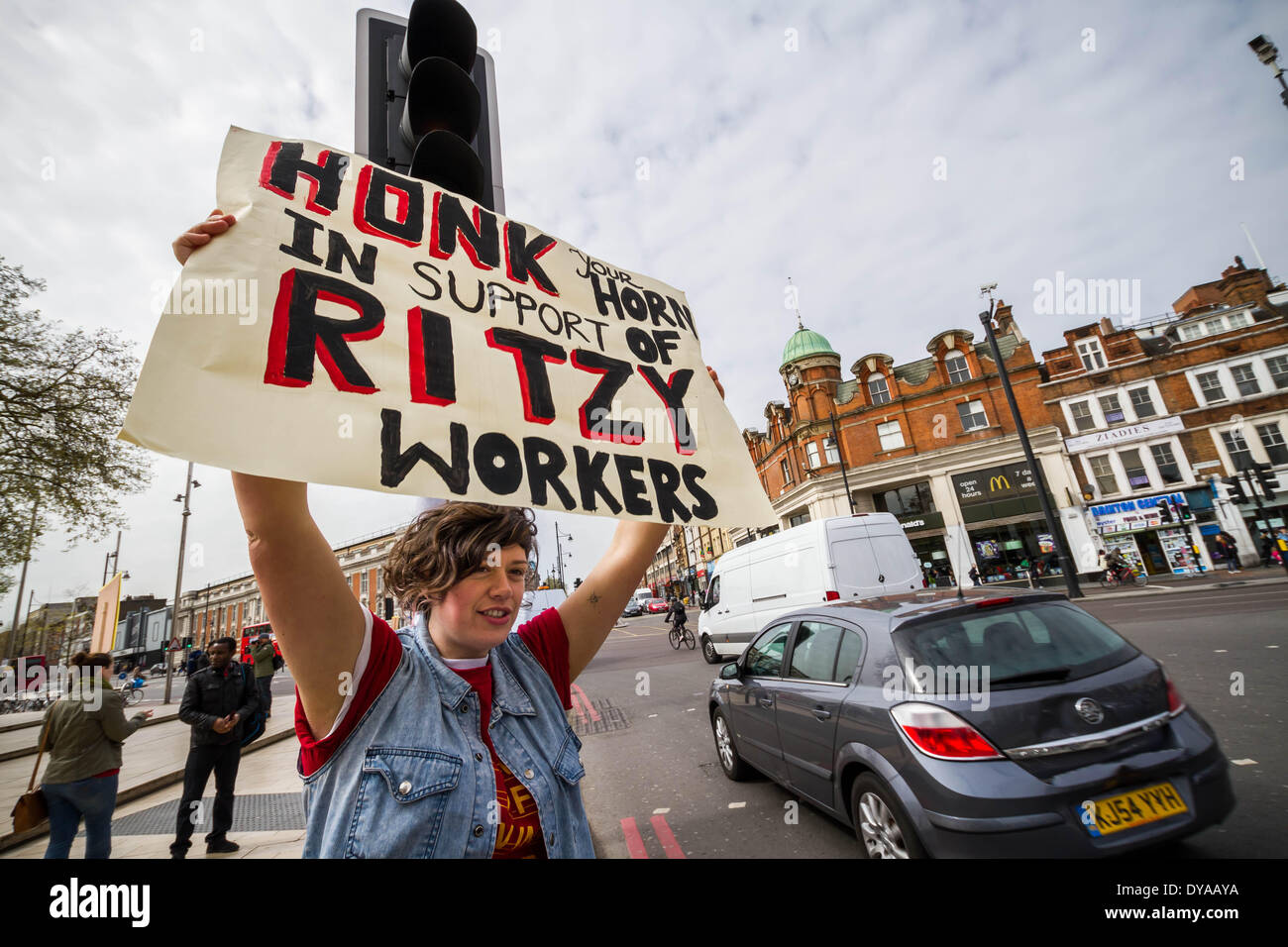 London, UK .11th Apr, 2014. Ritzy Cinema in Brixton closed as union members take strike action Credit:  Guy Corbishley/Alamy Live News - Stock Image