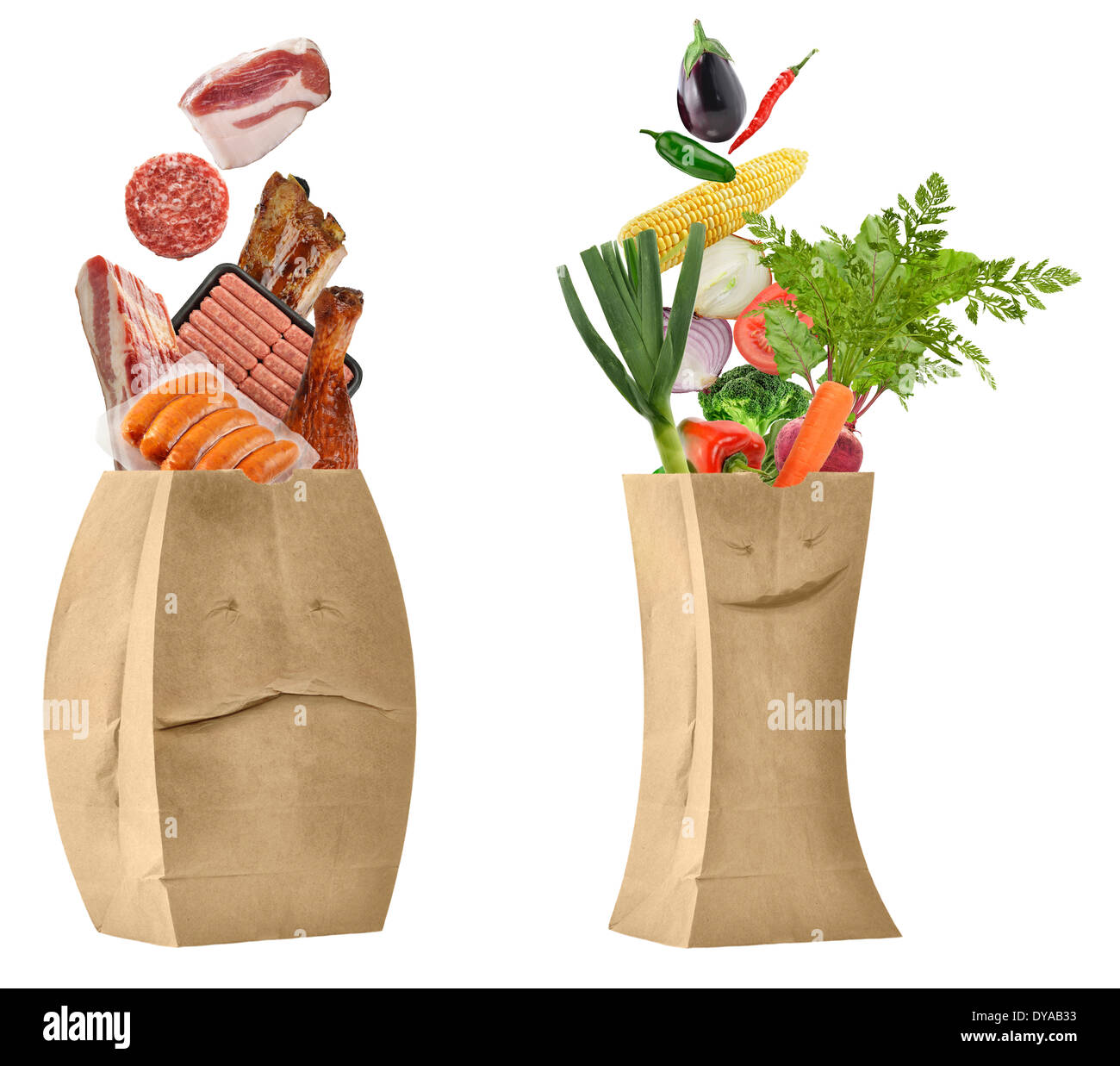 Healthy And Unhealthy Food Concept - Stock Image