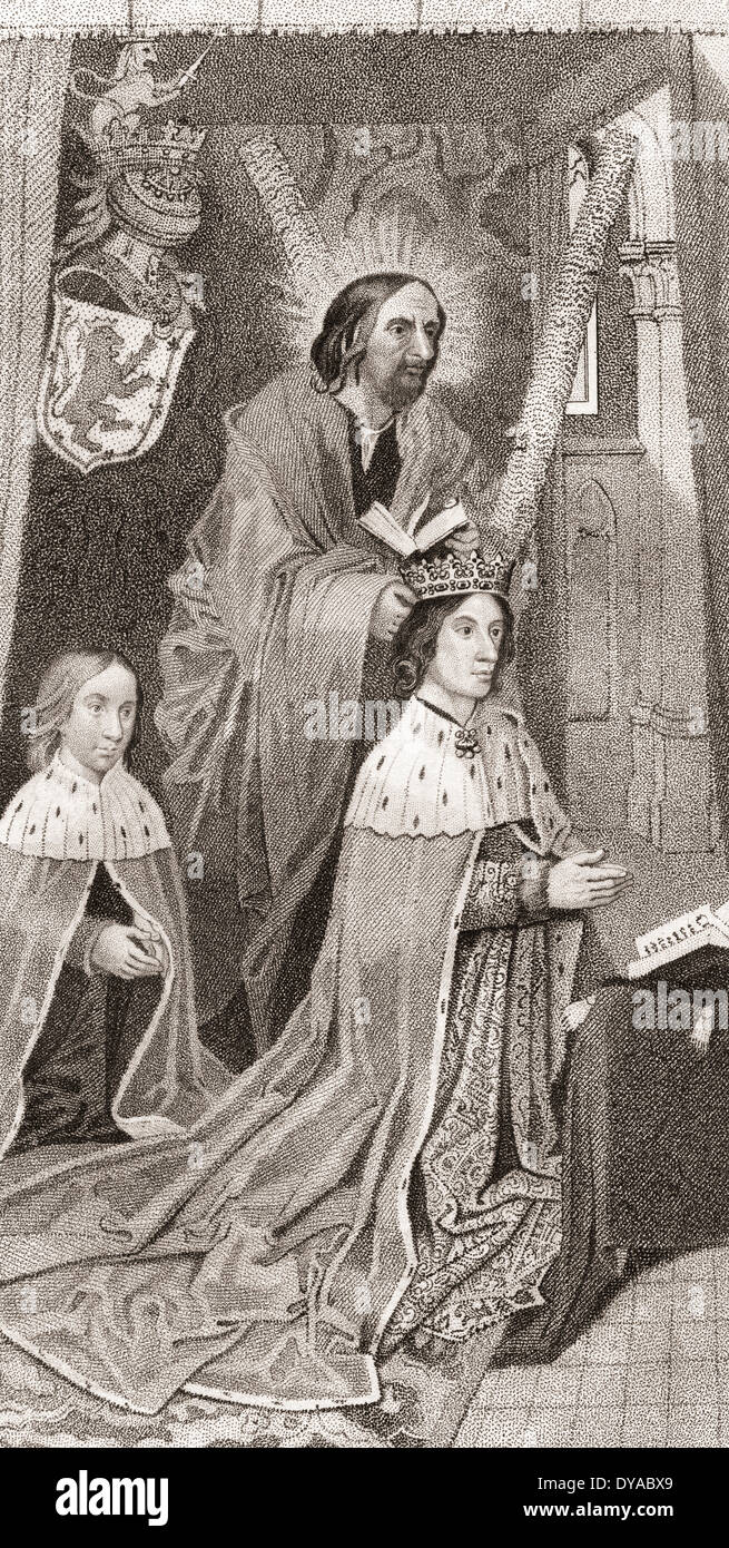 James III of Scotland praying with his son the future James IV of Scotland. Behind him, St Andrew places a crown on his head. - Stock Image