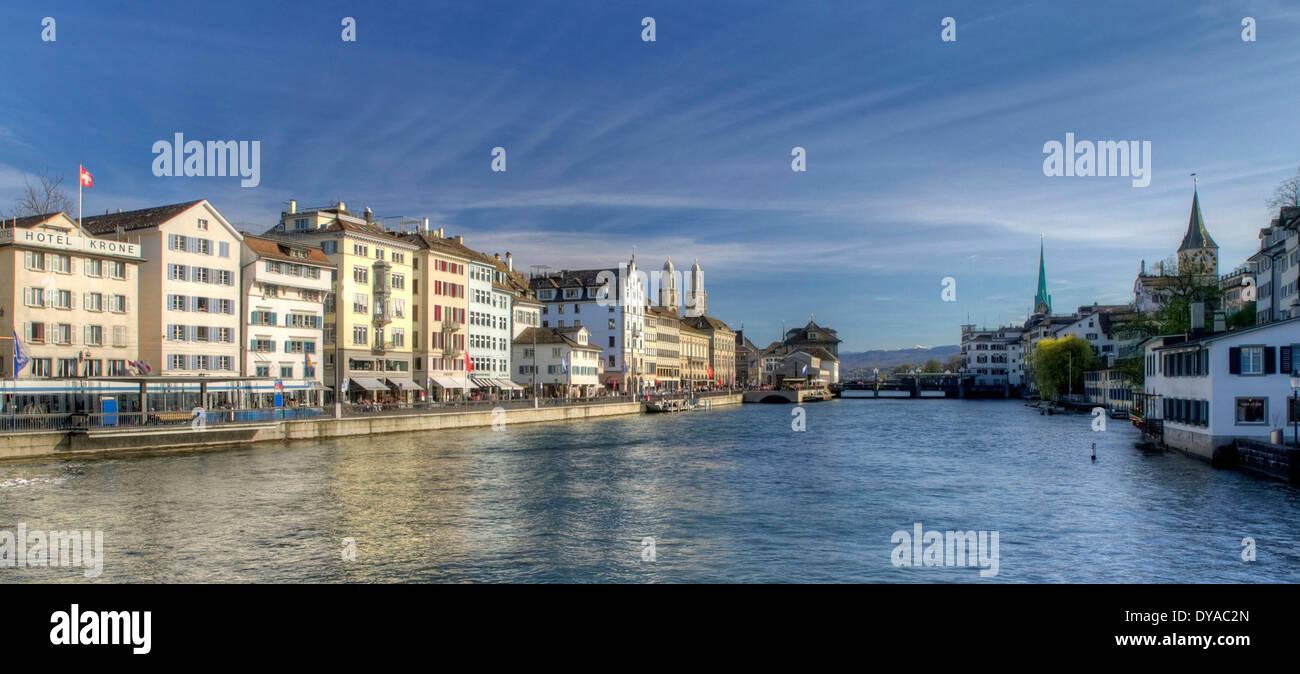 Zurich, Switzerland, Europe, church, Grossmünster, Limmat, Limmatquai, schipfe, weeping willow, - Stock Image